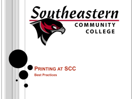 Printing at SCC - Southeastern Community College