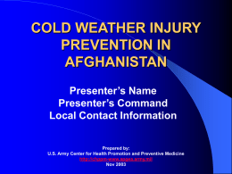COLD WEATHER INJURY PREVENTION - NH-TEMS