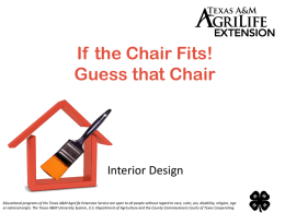 If the Chair Fits! Guess that Chair