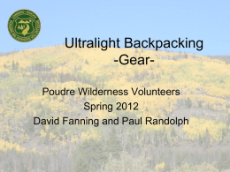 Ultralight backpacking Poudre Wilderness Volunteers