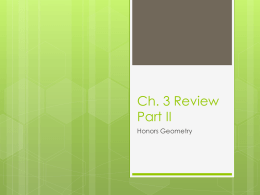 Ch. 3 Review Part II