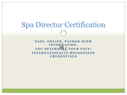 Spa Director Certification