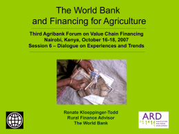 The World Bank and Financing for Agriculture