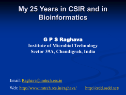 Role of Bioinformatics Tools in Biological Research G. P
