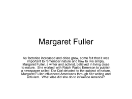 Margaret Fuller - Teaching with Primary Sources Northern