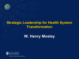 Strategic Leadership in Population and Reproductive Health