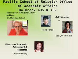 Pacific School of Religion Office of Academic Affairs