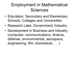 Careers in the Mathematical Sciences