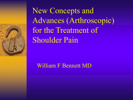 New Concepts and Advances (Arthroscopic) for the Treatment