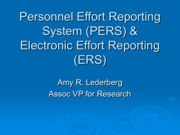 Personnel Effort Reporting Policies and Procedures