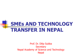 SMEs and Technology Transfer in Nepal