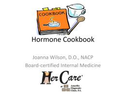 Hormone Cookbook - Amarillo Diagnostic Clinic, PA