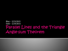 Parallel Lines and the Triangle Angle