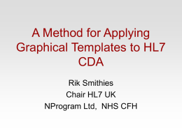 A Method for Applying Graphical Templates to HL7 CDA