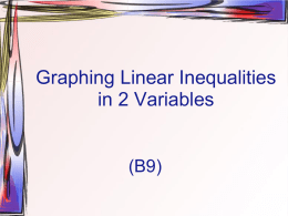 2.6 Graphing linear Inequalities in 2 Variables