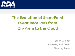 The Evolution of SharePointEvent