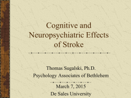 Cognitive and Neuropsychiatric Effects from Stroke