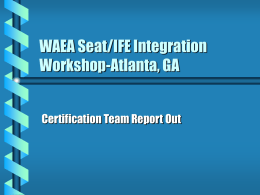WAEA Seat/IFE Integration Workshop