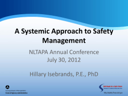 A Systemic Approach to Safety