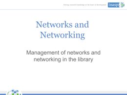 Networks and Networking - INASP
