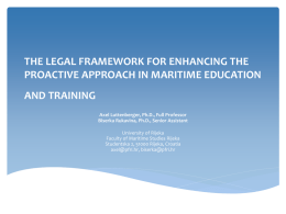 THE LEGAL FRAMEWORK FOR ENHANCING THE PROACTIVE …