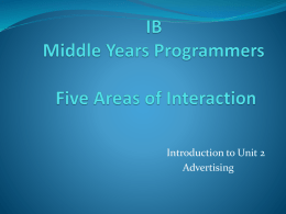 Six Areas of Interaction IB Middle Years Programmers