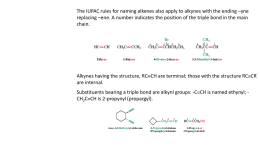Naming the Alkynes