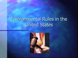 Environmental Rules in the United States