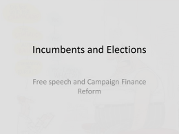 Incumbents and Elections - www.harvieconnection.com