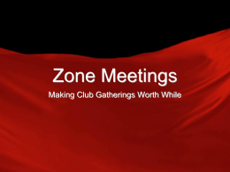 Zone Meetings - e