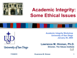 Academic Integrity: Some Ethical Issues