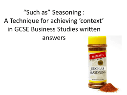 "Such as"" Seasoning : A Technique for achieving 'context"
