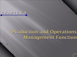 Definition and Operations Management Function