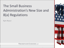 The Small Business Administration's New Size and 8(a