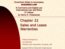 Chapter 022 - Sales & Lease Warranties