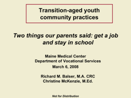 Transition-aged youth community practices