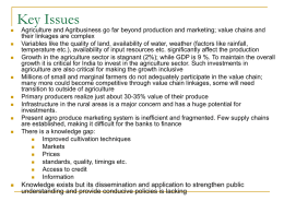 Key Issues - Rural Finance