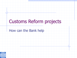Customs Reform projects - GFP (Global Facilitation