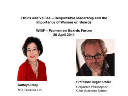 Ethics and Values – Responsible leadership and the