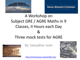 Subject GRE / AGRE Maths