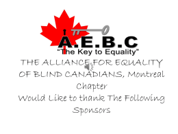 THE ALLIANCE FOR EQUALITY OF BLIND CANADIANS, Montreal