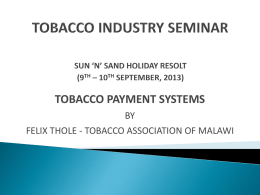 TOBACCO INDUSTRY SEMINAR SUN 'N' SAND HOLIDAY …