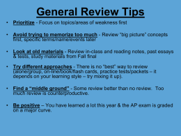 Essay Tips - Tamalpais Union High School District / Overview