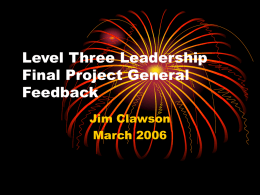Level Three Leadership Final Project General Feedback
