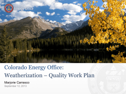 Colorado Energy Office: Weatherization – Quality Work Plan