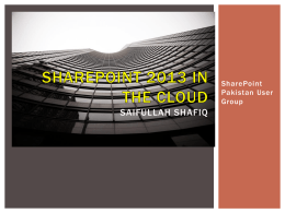 User Group Meeting - Jan 2013: SharePoint In The Cloud