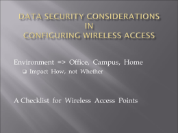 Data Security Considerations in Configuring Wireless Access