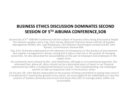 BUSINESS ETHICS DISCUSSION DOMINATES SECOND …