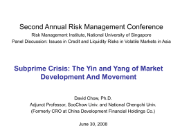 The Subprime Crisis And The Yin and Yang of Financial