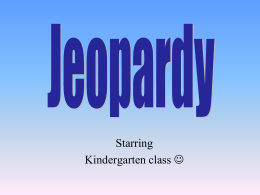 Jeopardy - A Minor Memoir